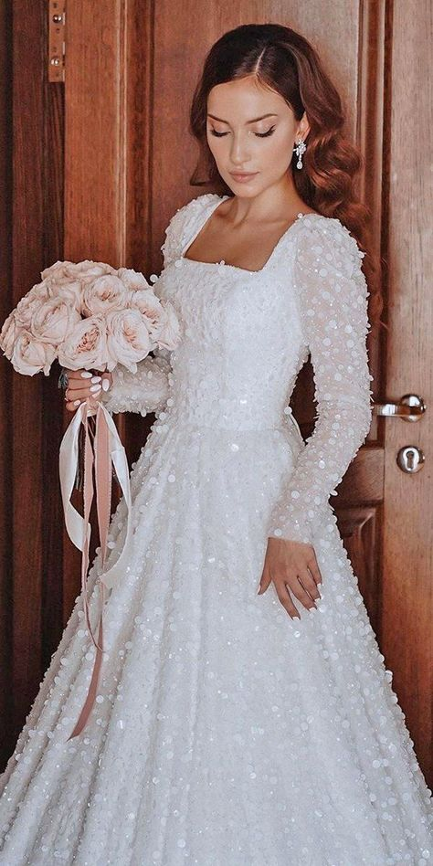 36 Gorgeous A-Line Wedding Dresses ❤ a line wedding dresses with sleeves square neckline ruslan arslanbekov #weddingforward #wedding #bride