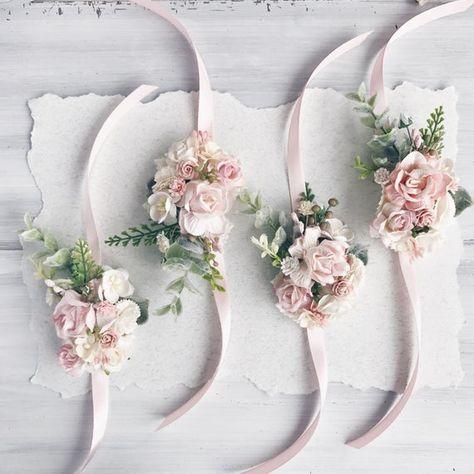 Bouquet Sposa Rosa Quarzo.Blush Rosa Fiore Polso Corsad Rosa Quarzo Bracciale Da Sposa