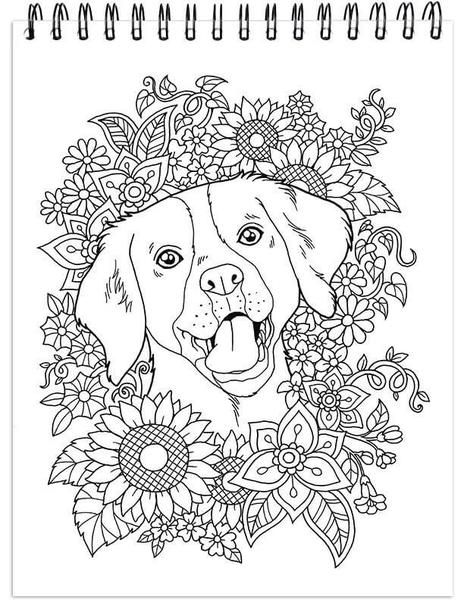 Dog Coloring Book For Adults With Hardback Covers And Spiral Binding Colorit Dog Coloring Book Coloring Books Dog Coloring Page