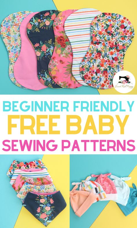 Learn how to sew adorable bandana baby bibs, hats and burp cloths with these free and easy sewing patterns with step-by-step tutorials. SVG files included for the Cricut Maker! Easy sewing tutorials perfect for beginners. Beginner Sewing Patterns, Hat Patterns To Sew, Easy Sewing Projects, Sewing Projects For Beginners, Free Sewing, Sewing Hacks, Sewing Tips, Pattern Sewing, Dress Patterns