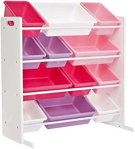 Phoenix Home Lodi Kid S Toy Storage Organizer With 12 Colorful Plastic Bins White Pink Purple Rose Kids Storage Bins Kids Storage Toy Storage Organization