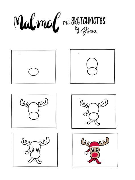 Sketchnote Anleitung Zum Nachzeichnen Elch Sketchnotes By Diana Skizze Notizen Sketch Note Weihnachten Zeichnen