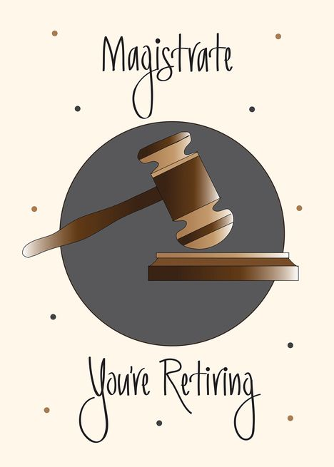 Retirement For Magistrate With Wooden Gavel Pounding Block Card