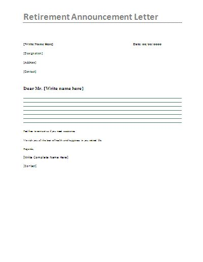 Retirement Announcement Letter A Well Prepared Letter Which Is