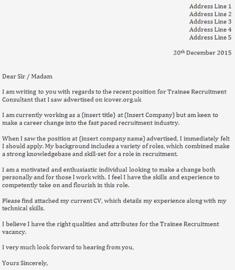 Trainee Recruitment Consultant Cover Letter Sample Karir Previ Us