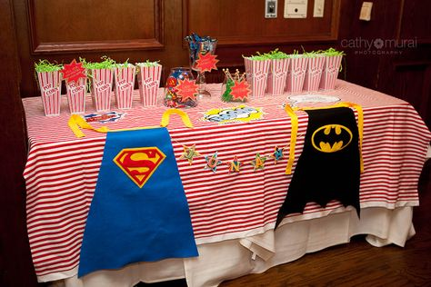 Candy Bar, Candy table, Candy Buffet at Superhero First Birthday Party at Maggiano's