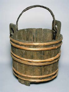 Medieval bucket from Castell y Bere, Llanfihangel-y-Pennant, 13th century. This item comes from: National Museums & Galleries of Wales (Item reference: 53.123/4). http://education.gtj.org.uk/en/item1/25922
