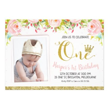 Miraculous Princess Crown Floral 1St Birthday Invitation Zazzle Com 1St Funny Birthday Cards Online Inifofree Goldxyz
