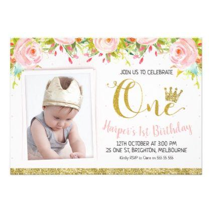 Surprising Princess Crown Floral 1St Birthday Invitation Zazzle Com 1St Funny Birthday Cards Online Fluifree Goldxyz