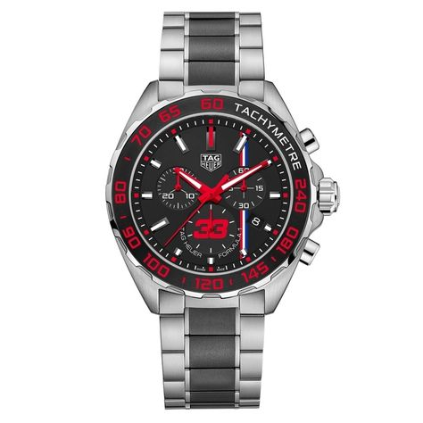 Tag Heuer Men's CAZSize: 10Size: 1U.BA0843 'Formula Size: 1 ' Chronograph Two-Tone Stainless Steel and Ceramic Watch, Black Size: 1