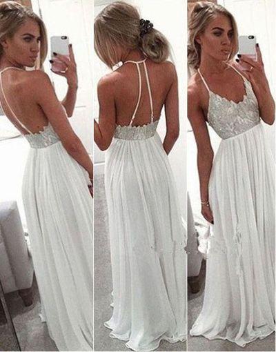 White spaghetti strap prom dresses