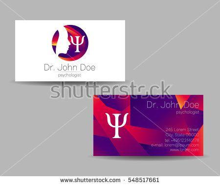 Psychology Vector Visit Card Modern Logo Creative Style Design Concept Brand Company Violet Color Is Visiting Cards Psychologist Business Card Modern Logo