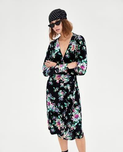 Zara Floral Velvet Wrap Dress Wrap Dress Velvet Wrap Dress Dresses