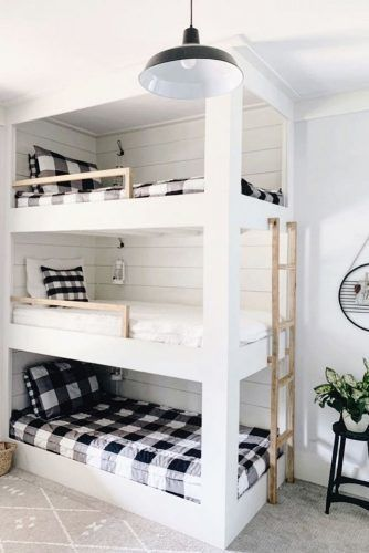 """40 Cute Triple Bunk Bed Design Ideas For Kids Rooms To Have - Many of us who grew up in the """"old days"""" have very fond memories of life in bunk beds. Whether you shared your room with your brother or sister or fir. Bunk Bed Sets, Bunk Bed Rooms, Kids Bunk Beds, Teen Bedroom, Bedroom Decor, Bedroom Ideas, Bed Ideas, Wall Decor, Triple Bunk Beds"""