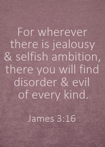 """""""For wherever there is jealousy and selfish ambition, there you will find disorder and evil of every kind.""""   James 3:16 Saved by Shelli Vasquez"""
