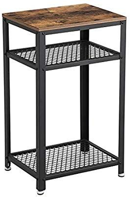 Vasagle Industrial Side Table End Telephone Table With 2 Tier Mesh Shelves For Office Hallway Or Industrial Side Table Metal Accent Furniture Side Table Wood
