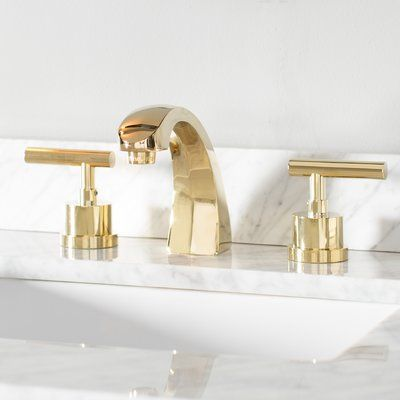 Kingston Brass Manhattan Widespread Bathroom Faucet With Brass Pop Up Wayfair Bathroom Faucets Widespread Bathroom Faucet Sink Faucets