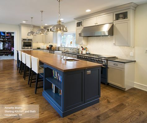 Off White Cabinets With A Blue Kitchen Island Omega Antique White Kitchen Blue Kitchen Island Kitchen Island Cabinets