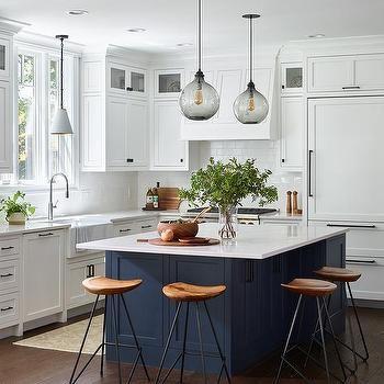 White Kitchen With Blue Center Island
