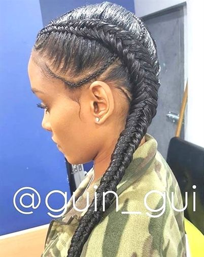 Two Fishtail Cornrows Style Braidstyles Two Braid Hairstyles Two Cornrow Braids Weave Hairstyles Braided
