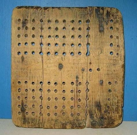 Antique Wooden Primitive Civil War Era  Cribbage Game Board