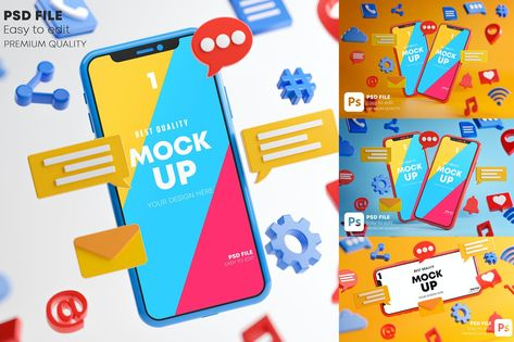 Social Media Icons Smartphone Mockup Pack by Nmotion on Envato Elements