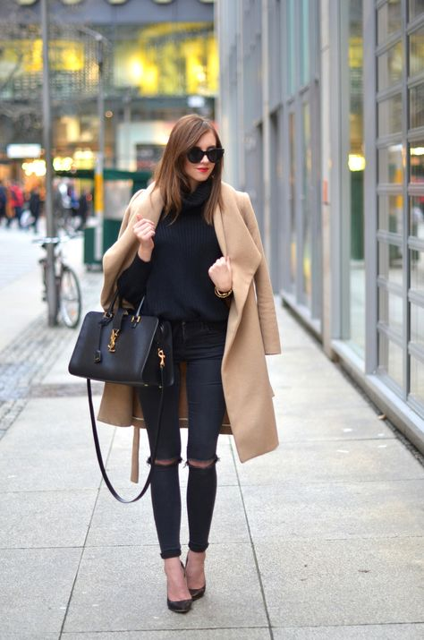 American Apparel turtle neck  Topshop jeans Mango coat  Jimmy Choo heels Saint Laurent bag http://FashionCognoscente.blogspot.com
