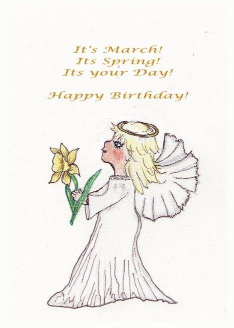 Happy Birthday Flower Daffodil Angel Card Ad Affiliate Flower Birthday Happy Card Happy Birthday Flower Birthday Flowers Daffodils