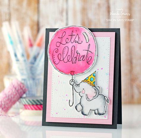 cute pink onlyhappythings ELEPHANT BIRTHDAY CARD
