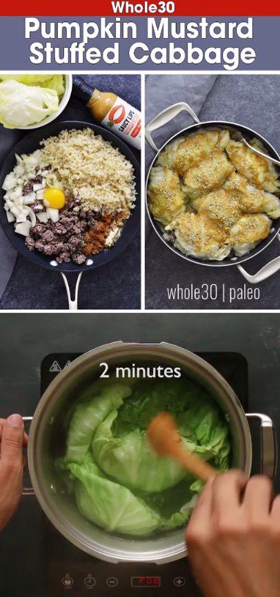 Whole30 Pumpkin Mustard Stuffed Cabbage