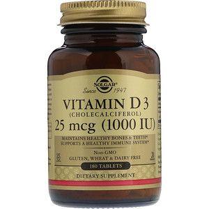 Solgar Vitamin D3 25 Mcg 1 000 Iu 180 Tablets Vitamin D3 Vitamins Gluten Free Vitamins