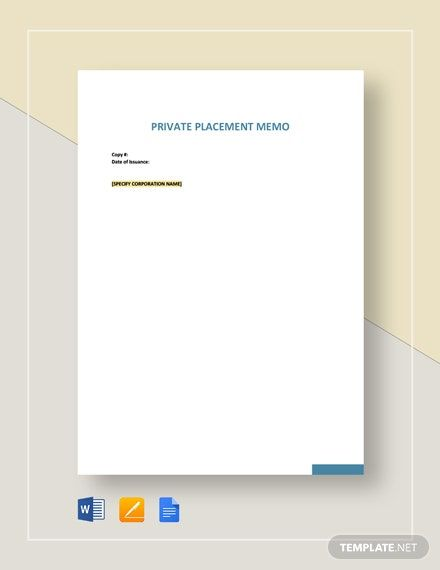 Private Placement Memo Template Free Pdf Google Docs Word Apple Pages Template Net Memo Template Memo Lettering