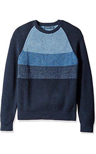 L Navy Nautica Mens Striped Raglan Sweater
