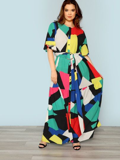 5e93e7a46 Shop Plus Color Block Dress with O-Ring Belt online. SheIn offers Plus  Color Block Dress with O-Ring Belt & more to fit your fashionable needs.