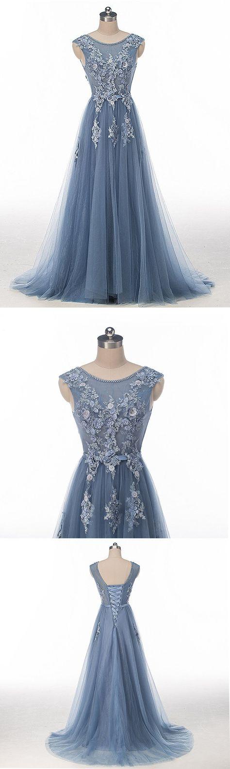 appliques Chic Prom Dresses Scoop...