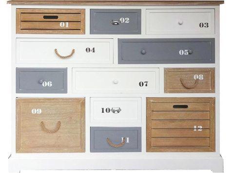 Kommode Maritim Weiß mit 12 Schubladen, Höhe 108cm, Jetzt - schrank wohnzimmer weiß