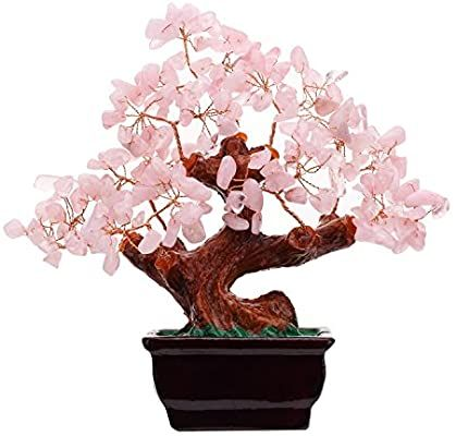 Amazon Com Parma77 Feng Shui Natural Rose Pink Quartz Crystal Money Tree Bonsai Style Decoration For Wealth And Lu Money Tree Bonsai Bonsai Styles Money Trees