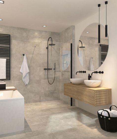salle de bains - gris - blanc - béton - bois   bathroom - concrete