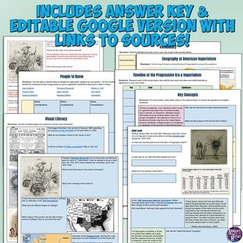 Progressive Era And Imperialism Study Guide And Unit Packet