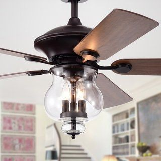 Topher 52 Inch 5 Blade Antique Bronze Lighted Ceiling Fans With Clear Glass Shade Optional Remote Control Ceiling Fan Chandelier Ceiling Fan With Remote Ceiling Fan