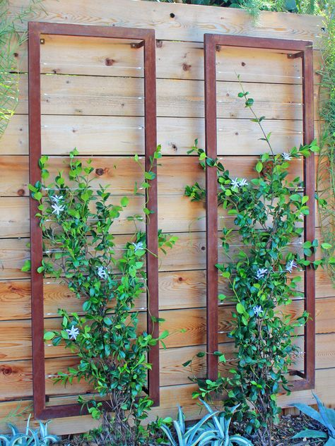 The INA WALL TRELLIS SR from Terra Trellis. A colorful modern trellis, perfect for vertical gardens, patios, wall gardens, small garden spaces. Wall Trellis, Garden Trellis, Metal Trellis, Vine Trellis, Trellis On Fence, Planters On Fence, Fence For Garden, Verticle Garden Wall, Deck Trellis Ideas