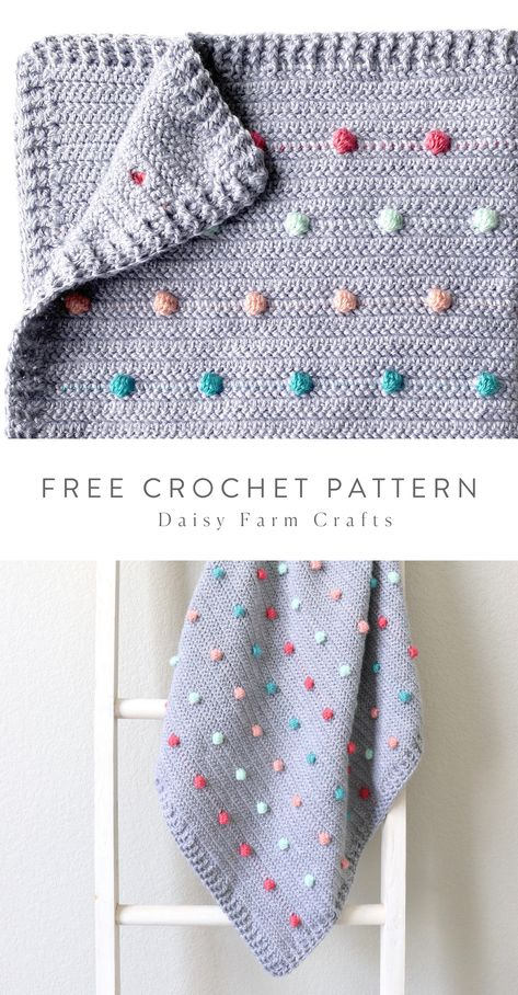 Free Pattern - Crochet Colorful Polka Dots Baby Blanket Hi there, it's Hannah, and I'm excited to share my latest polka dot blanket! I've probably made too many polka… Crochet Baby Blanket Free Pattern, Crochet Afghans, Crochet Stitches, Knit Crochet, Booties Crochet, Baby Booties, Baby Sandals, Knitting Baby Blankets, Baby Blanket Knitting Pattern Free
