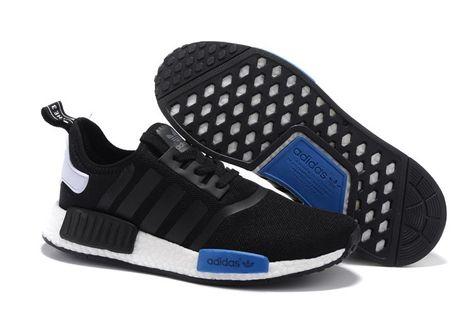 e29f8bbebf60a Adidas Women Men Originals NMD High Top Shoes Black Royal Blue ...