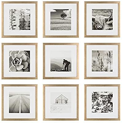 Amazon Com Instapoints 9 Piece 8 X 8 Picture Frame Set With Decorative Art Prints Hanging Template Galle In 2021 Gallery Wall Gallery Wall Kit Gallery Wall Frames