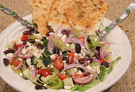 Greek Salad with Seasoned Flatbread from Recipe Girl