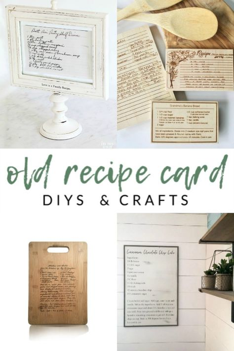 Old Recipe Card DIYs and Crafts - Preserve family recipe cards with these meaningful kitchen projects that serve as a daily reminder of special family memories. diy kitchen projects Display Family Recipe Cards - The Crazy Craft Lady Diy Interior, Family Recipe Book, Crafts To Make, Diy Crafts, Foto Transfer, Memory Crafts, Old Cards, Cards Diy, Diy Kitchen Island