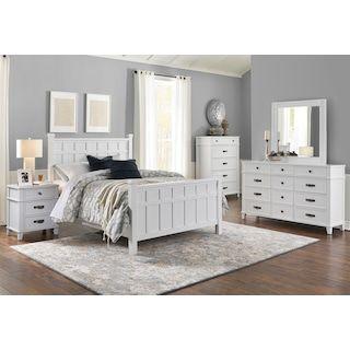 Windsor Lane Queen 4 Piece Queen Bedroom Set White Rustic Bedroom Furniture Home Furniture Bedroom Sets Furniture Queen