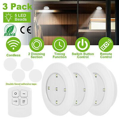 3 Pack Led Night Light Cordless Battery Powered Wall Closet Lamp Remote Control In 2020 Led Night Light Night Light Wall Closet