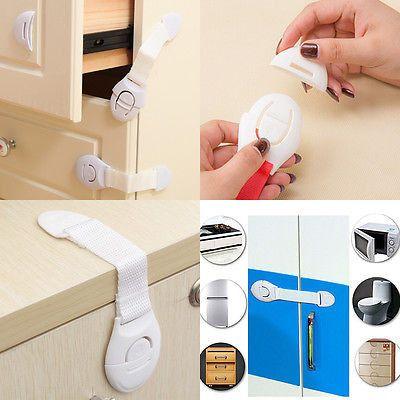 Baby Kid Child Pet Proof Door Fridge Cupboard Cabinet Drawer Safety Lock Latches