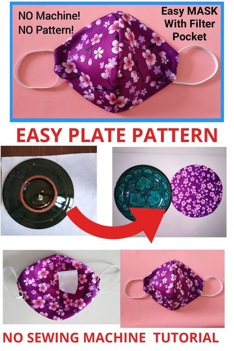 Easy Face Masks, Diy Face Mask, Face Mask Set, Full Face Mask, Sewing Hacks, Sewing Tutorials, Simple Face, Pocket Pattern, Diy Mask